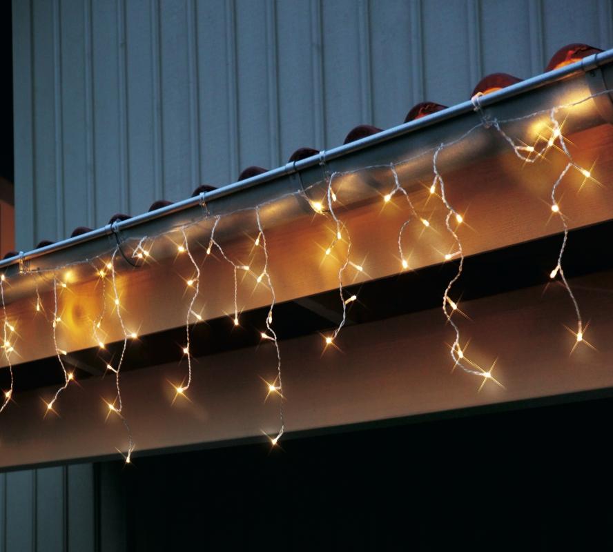 Led lichterkette eiszapfen 144 teilig warmwei 499 56 for Fahnenmast lichterkette