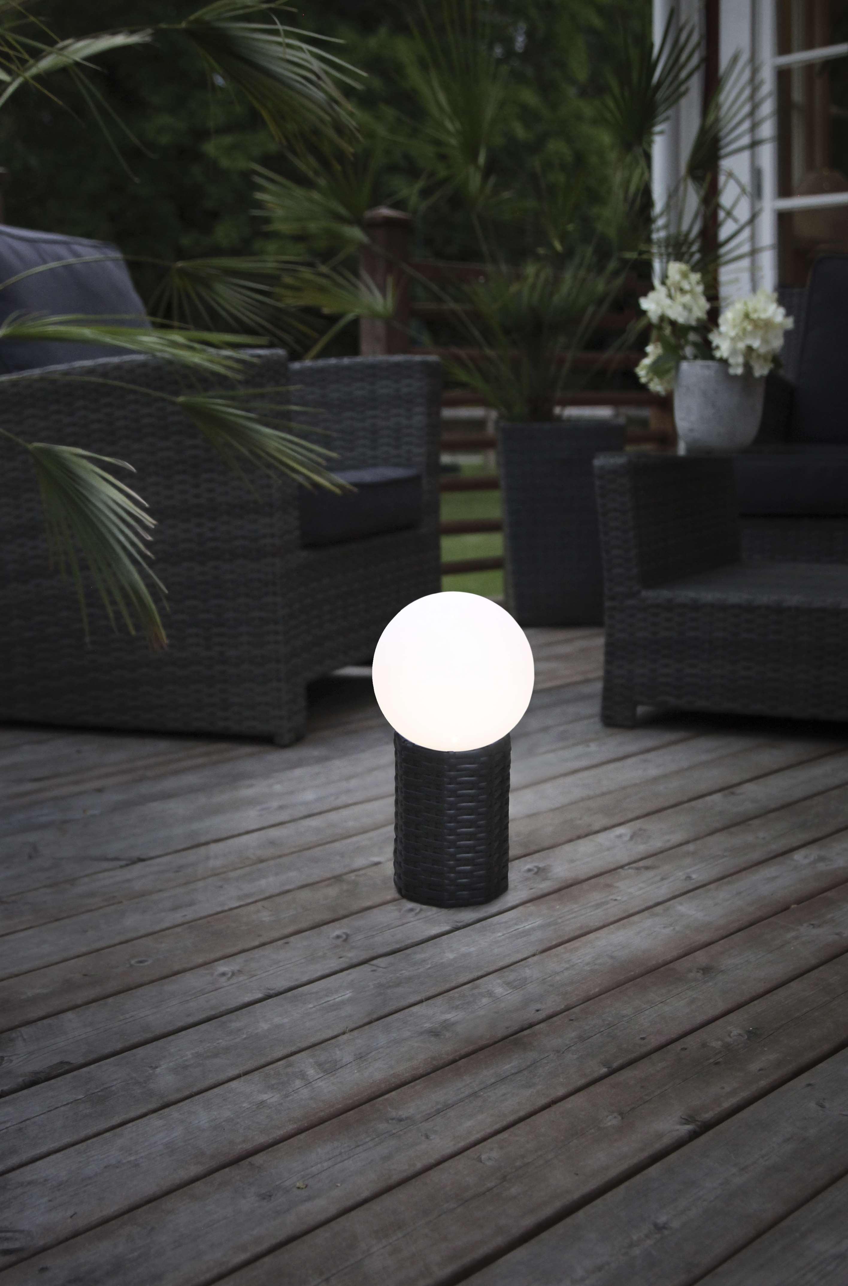 led solar kugel mit sockel in rattanoptik ca 15 x 28 cm 479 70. Black Bedroom Furniture Sets. Home Design Ideas