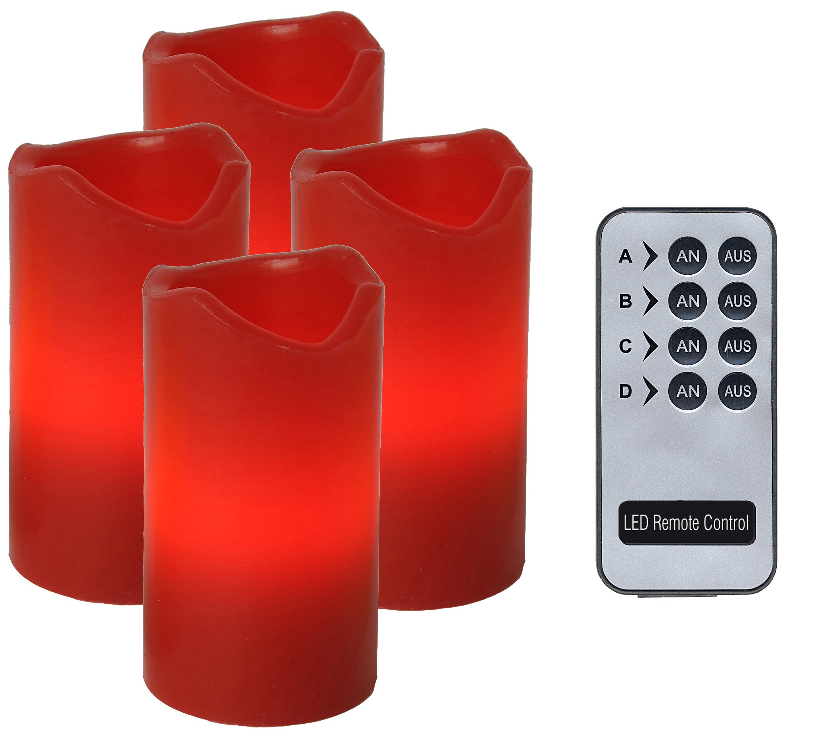 4er led wachskerzenset mit fernbedienung rot 067 12. Black Bedroom Furniture Sets. Home Design Ideas